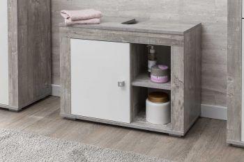 Meuble sous lavabo Rutger 1 porte - blanc/béton