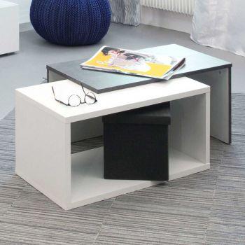Table basse Box - blanc/béton