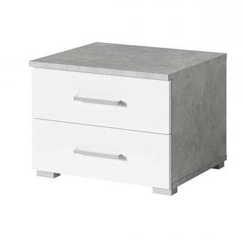 Table de chevet Soma 2 tiroirs - blanc/béton