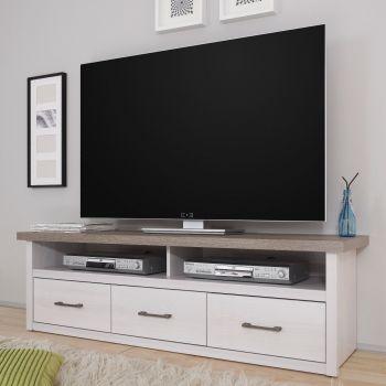 Meuble tv Larnaca 148cm avec 3 tiroirs - blanc