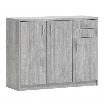 Commode Spacio 3 portes & 2 tiroirs H 84cm - chêne gris