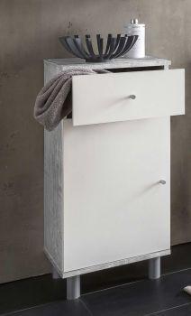 Armoire de salle de bains Benja 1 porte & 1 tiroir - blanc/béton