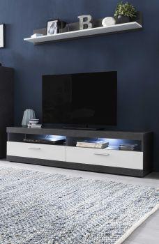 Meuble TV Otis 160cm avec tablette murale & éclairage LED - blanc/gris graphite