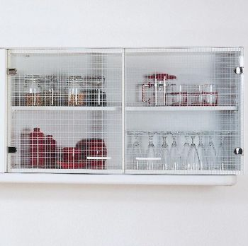 Meuble haut Bingo 100cm portes en verre - blanc