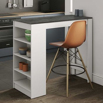Table de bar Aravis 115x50 avec rangement - blanc/béton