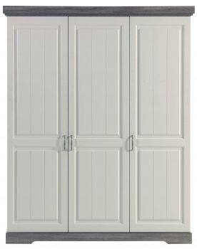 Garde-robe Yves 175cm 3 portes - blanc/brun