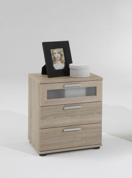 Table de chevet Jack à 3 tiroirs - chêne brun