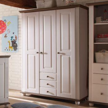 Garde-robe Laurel 131cm à 3 portes & 3 tiroirs - blanc/brun