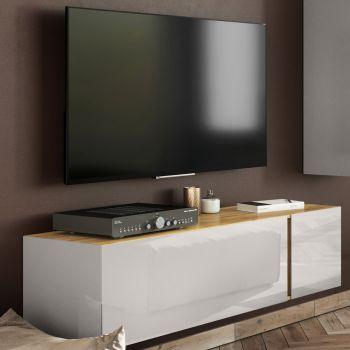 Meuble TV Mussa 140cm - chêne/cachemire