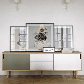 Bahut Danny à tiroirs 201cm - gris/blanc/chêne