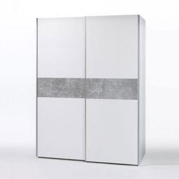Armoire à vêtements Wouter 170cm avec 2 portes - blanc/béton