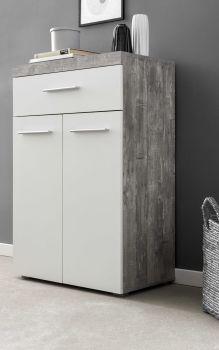 Bahut Tristan 2 portes & 1 tiroir - blanc/béton