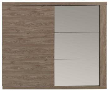 Garde-robe Gracia 260cm avec portes coulissantes & miroir - brun
