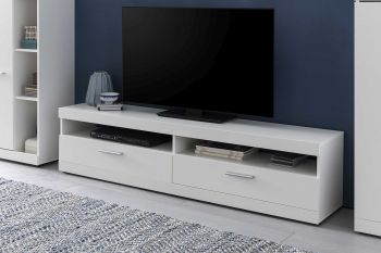 Meuble TV Otis 160cm avec tablette murale - blanc