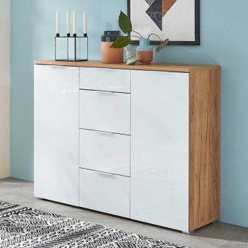Bahut Tille 134cm avec 2 portes & 4 tiroirs - blanc/chêne