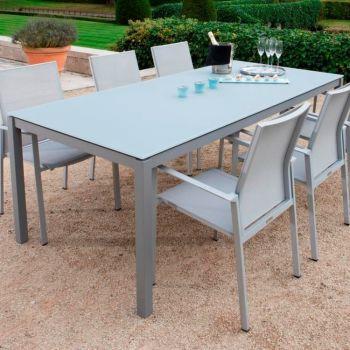 Table de jardin Albany 220x100 - argent/gris