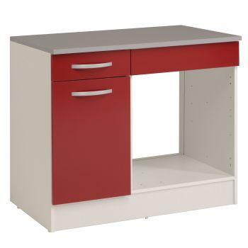 Meuble bas Oke pour four 100 cm avec tiroir et porte - rouge