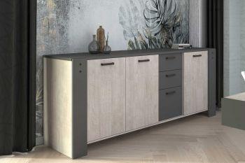 Bahut Vienna 220cm 3 portes & tiroirs - gris