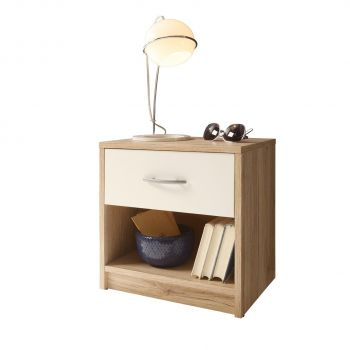 Table de chevet Beppu avec 1 tiroir - chêne/blanc