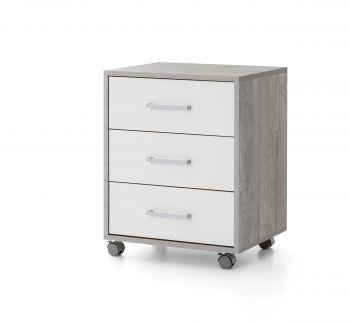 Caisson à tiroirs Maxi-office - béton/blanc