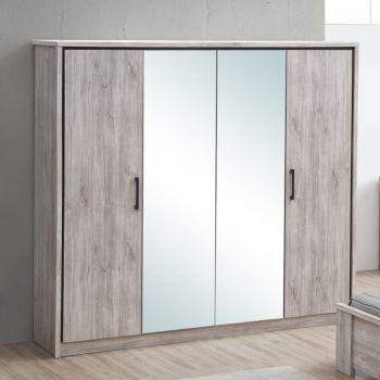 Garde-robe Sela 214cm avec 4 portes & miroirs - chêne gris
