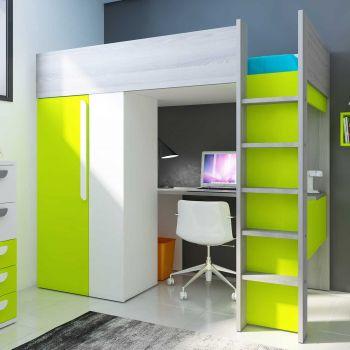 Lit mezzanine Beau avec bureau et armoire - vert
