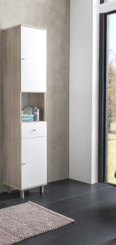 Colonne de salle de bains Benja 2 portes & 1 tiroir - blanc/chêne