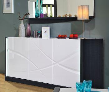 Bahut Eloa 190cm à 3 portes - blanc brillant/noir