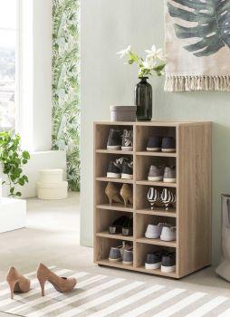 Etagère / Armoire à chaussures Levi à 10 compartiments - chêne