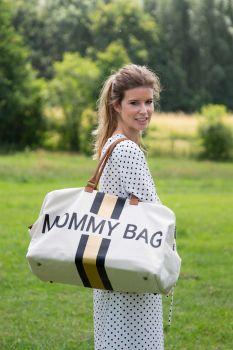 Sac à langer Mommy Bag avec rayures - écru/noir