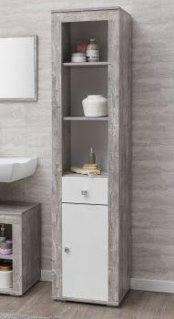 Colonne Rutger 1 tiroir & 1 porte - blanc/béton
