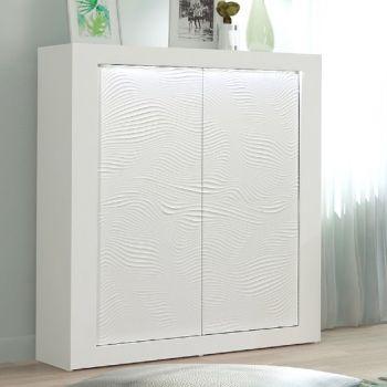 Vaisselier Kaia 121cm à 2 portes - blanc brillant