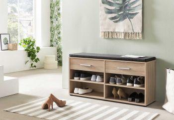 Armoire à chaussures Karin 2 tiroirs avec coussin - chêne