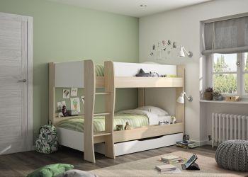 Lits superposés avec tiroir Maiko 90x200 - chêne clair/blanc