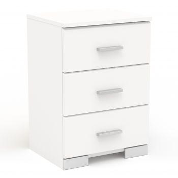 Table de chevet Gemma 3 tiroirs - blanc