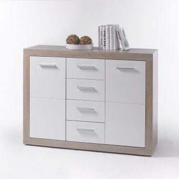 Commode Brekalo 117 cm avec 2 portes & 4 tiroirs - chêne sonoma /blanc