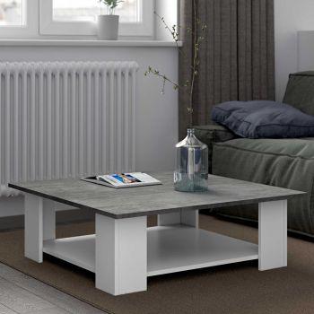 Table basse Square 67x89 - blanc/béton