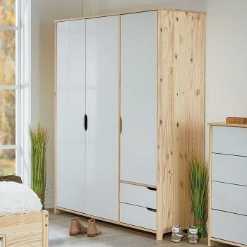 Armoire à vêtements Eidur 146cm 3 portes & 2 tiroirs - nature