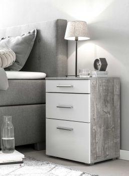 Table de chevet Bedside 2 tiroirs & 1 porte - blanc / béton