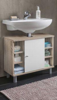 Meuble sous lavabo Benja 1 porte & 6 niches - blanc/chêne