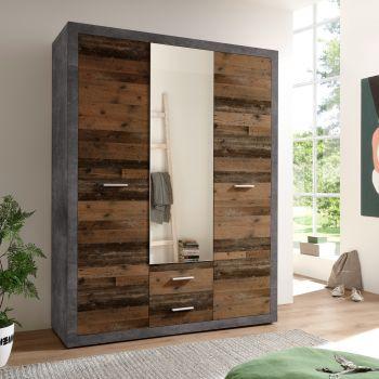 Armoire à vêtements Storck 151cm 3 portes & 2 tiroirs - vieux style/béton