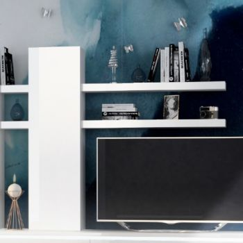 Armoire murale Elif avec 2 étagères - blanc brillant