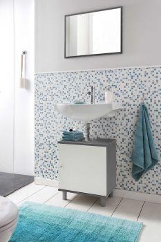 Meuble sous lavabo Rowan - blanc/gris graphite