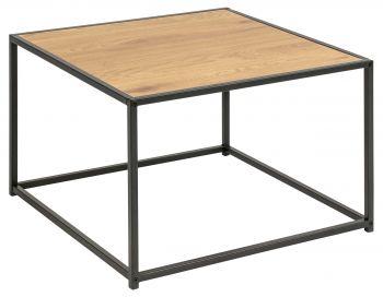 Table basse Dover 60x60 industriel - noir/chêne sauvage