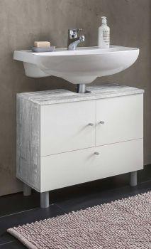 Meuble sous lavabo Benja 3 portes - blanc/béton