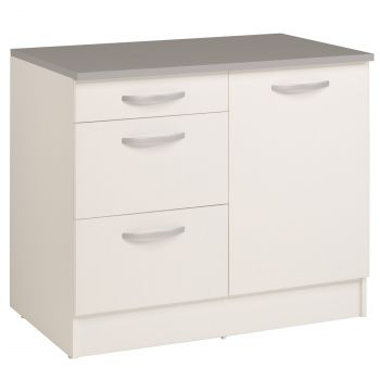 Meuble bas Oke 100 cm pour évier avec 3 tiroirs et porte - blanc