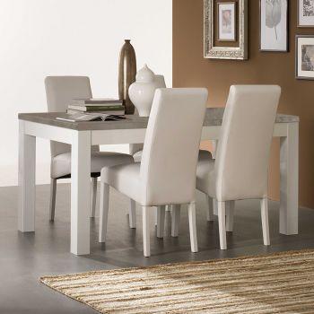 Table à manger Roma 160 cm - blanc/béton