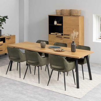 Table à manger Manon 220x90 - chêne/noir