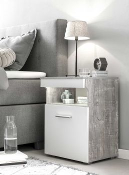 Table de chevet Bedside 1 porte - blanc / béton