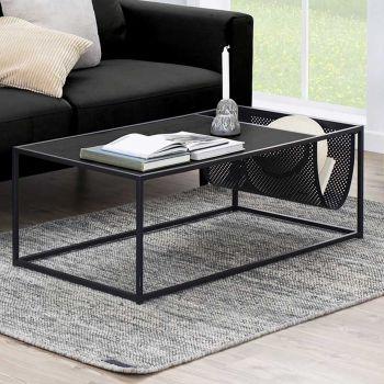 Table basse avec porte-revues Dover - noir